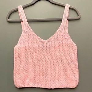 NWOT American Apparel Pale Pink knit crop top